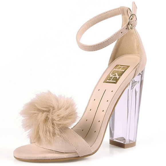 e8c6529bb9 Shoes | New Nude Chunky Clear Pom Pom Heels | Poshmark
